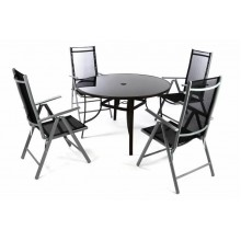 Zahradní set - 4 polohovatelné židle a stůl - černá