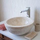Umyvadlo z přírodního kamene Gemma 516 Ø45 cm Cream
