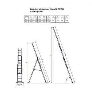 Žebřík G21 3-dílný 5,9m 3x9 příček