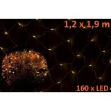 Vánoční LED světelná síť 1,2 x 1,9 m - teplá bílá, 160 diod