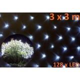 Světelný závěs s LED diodami - 3 x 3 m studená bílá 128 LED