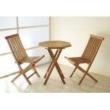 Luxusní balkonový set Gardenay z týkového dřeva, 1 stůl + 2 skládací židle