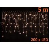 Vánoční řetěz déšť s 200 LED diodami, teple bílá 5 m