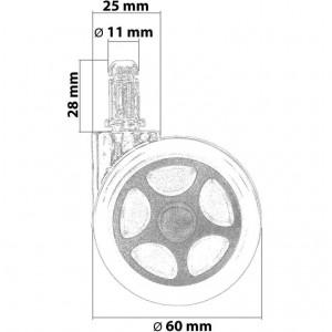 Designová sada 5 koleček pro tvrdé podlahy RACEMASTER
